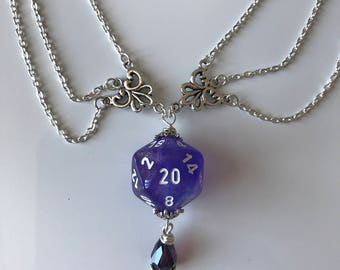 dungeons and dragons pendant dice pendant D20 translucent pendant dice jewelry dice necklace transparent geek