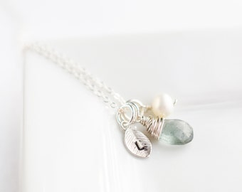 Silver Initial Necklace - Personalized Gemstone Necklace - Sterling Silver Birthstone Necklace - Custom Gift - Simple Everyday Jewelry
