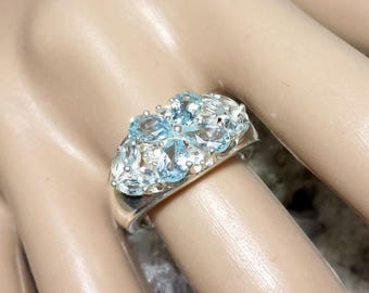 Vintage Blue Topaz Ring / Vintage Blue Topaz Engagement Ring / Blue Topaz Wedding Ring Size 8-1/4