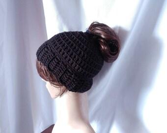 Black Messy Bun Hat Crochet Ponytail Hat Winter Headband Acrylic winter spring accessory gift for her Jogger Valentines gift Teen girls