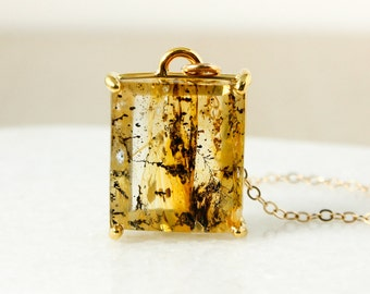 Gold Dendritic Quartz Pendant Necklace – Square Dendritic Quartz Necklace