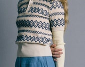 Vintage 70s Zig Zag Knit Short Sleeve Polo Sweater | S