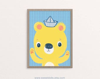 Dream Big yellow and blue bear, nursery wall art, cute wall art for baby