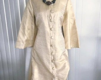 Vintage 1960's Gold Brocade and Silk Lounge Dress -- Size Large