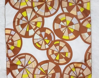 Groovy Vintage 60s 70s Brown and Bright Yellow Psychedelic Pinwheel Circles Scarf