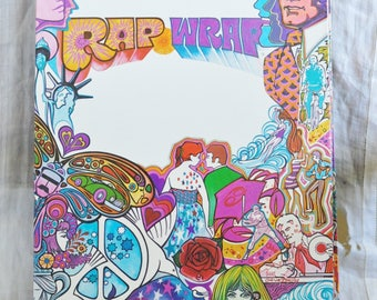 Vintage School Folder Paper Portfolio Rap Wrap Hippie Zodiac Rainbow Groovy Love Peace, 1970 by Lettuce Two Pocket School Folder