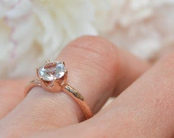 Tree Branch Moissanite Engagement Ring Solitaire - Forever One Moissanite Twig Ring in Rose Gold, White Gold, Yellow Gold or Platinum