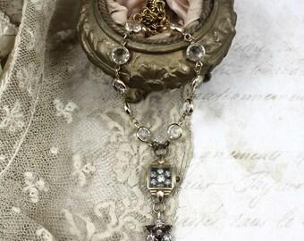 Vintage Assemblage Watch Case Necklace, Tiny Shadowbox Necklace, Crystal Watchcase Necklace, Altered Vintage Watch Case Y Necklace
