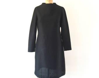 1960s Mod Vintage Black Dress Cowl Neck Textured Minimalism A-Line Shift Dress M/L