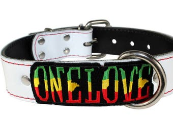 "White One Love Dog Collar - 1.5"" One Love Leather Dog Collar - One Love Collar - Rasta Dog Collar -Rastafarian Leather Collar"