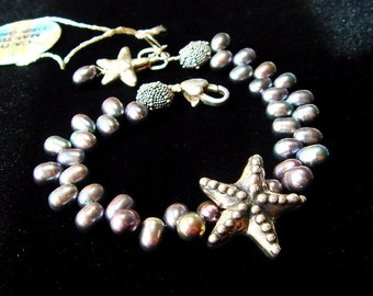 Pearl Bracelet, Hill Tribe Silver Bracelet, Beach Theme Jewelry, Starfish, Sea Urchin, Peacock Pearl, Lovely Luxe Jewels