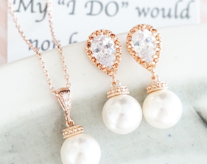 Rose Gold Pearl Earrings, Crystal teardrop, Swarovski pearl drop, Wedding Bridal jewelry necklace gifts, Bridesmaid earrings, Charlotte