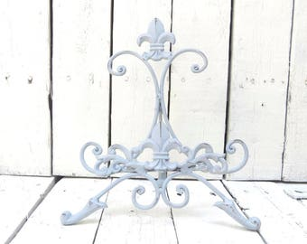Gray Easel, Metal Easel, Book Stand, Art Prop, Shabby and Chic, Fleur De Lis, Parisian Chic, Cottage Chic, French Country Decor