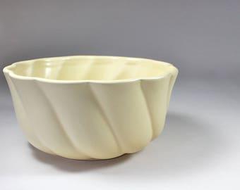 Mid Century Yellow Ribbed Ceramic Bowl Fluted Swirl Pattern Satin Finish Decorative Bowl 1960s