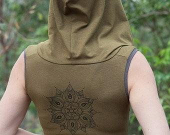S Females Hemp and Organic Cotton Cropped Tank - Arc Mandala