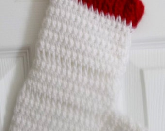 """CHRISTMAS STOCKING- Hand Crocheted -9"""" x 4.5"""" x 7.5"""" red  and white stocking"""