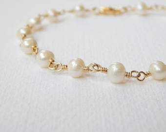 Pearl Bracelet - Gold Filled Cultured Freshwater Pearl Rosary Bracelet Beaded Bracelet Beadwork Bracelet Rosary Chain White Pearls