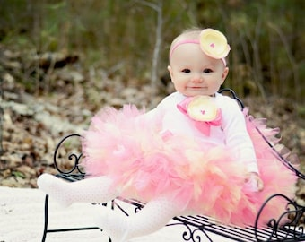 Pink Baby Girls Tutu Dress | Long Sleeved Baby Dress | Pink and Yellow Birthday Dresses | 1st Birthday Outfit for Baby Girls