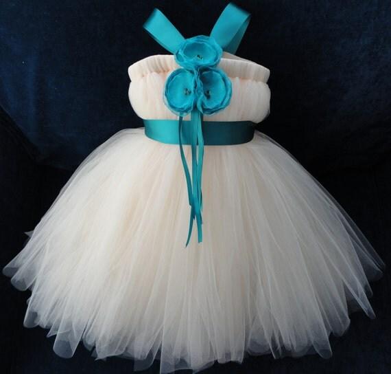 Teal Flower Girl Dress, Little Girls, Toddler Girls, Baby Girls, Flowergirl Dress, Tutu Dress, Flower Sash