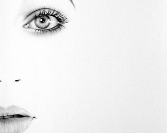 Kate Bush Minimalism Pencil Drawing Fine Art Portrait Signed Print