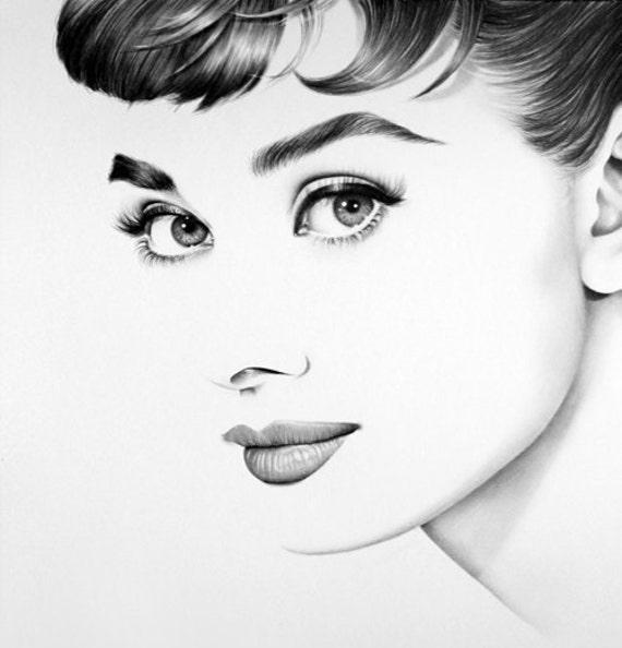 Audrey hepburn potlood tekening portret kunst ondertekende - Laminas audrey hepburn ...