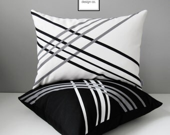 White & Black Outdoor Pillow Cover, Decorative Sunbrella Pillow Cover, Grey Geometric Pillow Cover, Modern Cushion Cover, Linear, Mazizmuse