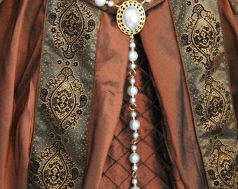 Ivory Pearl Queen Regent Renaissance Tudor Dress Girdle Belt Medeival Costume