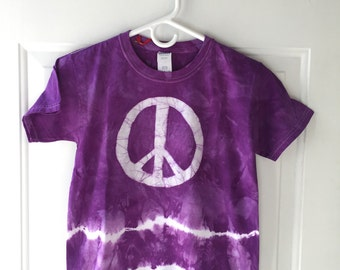 Kids Peace Sign Shirt, Kids Tie Dye Shirt, Kids Peace Shirt, Purple Peace Sign Shirt, Girls Peace Shirt, Boys Peace Shirt (Youth S)