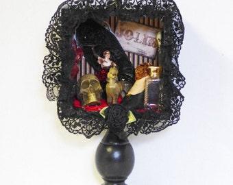 Gothic Shadow Box - Gothic CanCan Dancer - Assemblage Shadow Box - Burlesque