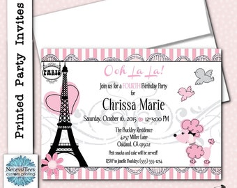 Printed French Themed Thank You Note Cards With Envelope - Invitation in french to birthday party
