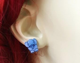 Blue Elephant Earrings, Small Elephant Earrings, Animal Earrings Shrinky Dinks Earrings Handmade Earrings Hand-Drawn Shrink Plastic Earrings