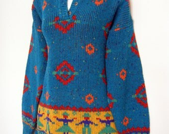 vintage 80s PERUVIAN style ETHNIC Print SWEATER in turquoise, size medium
