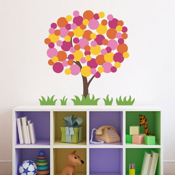 Tree Wall Decal with Polka Dots - Grass Wall decal - Children Wall Decals - Polka Dot Tree - Medium