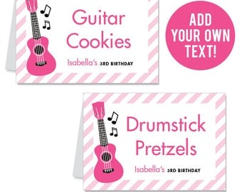 INSTANT DOWNLOAD Pink Rock Star Party Buffet Cards - EDITABLE Printable File