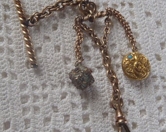 Vintage Vest Pocket Watch Chain Double Fobs