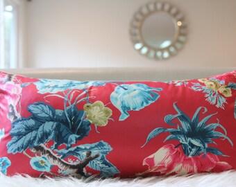 """12x24"""" Schumacher Elizabeth Multi Rouge, Schumacher Fabric, Schumacher Pillow, Chintz Fabric, Chintz Print, Floral Fabric, Floral Pillow"""