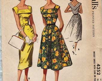 McCalls 4352 / Vintage 50s Sewing Pattern / Dress / Size 14 Bust 34