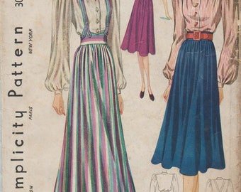 Simplicity 3032 / Vintage 1930s Sewing Pattern / Skirt And Blouse / Size 14 Bust 32