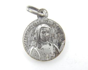 Vintage Saint Marguerite Catholic Medal - Jesus Christ Religious St Charm - Nun Medallion - Catholic Jewelry - Religious Charms X84