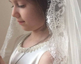 Ready to ship First Holy Communion Veil with lace trim ivory mantilla extended back style
