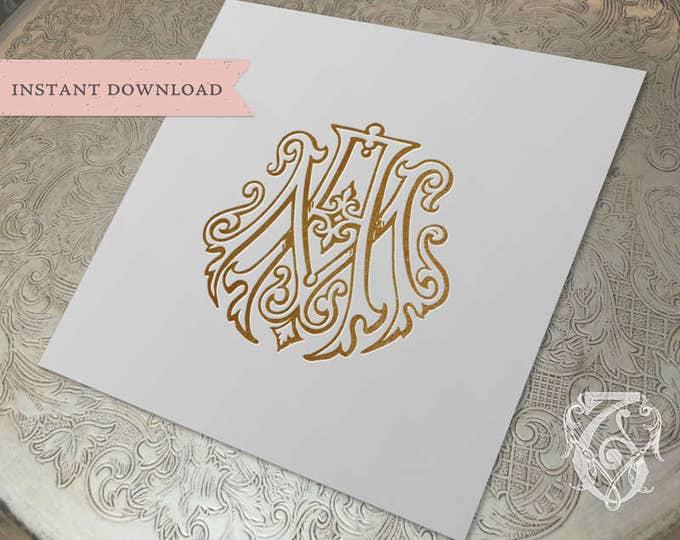 Vintage Wedding Monogram AM MA Duogram Digital Download  A M