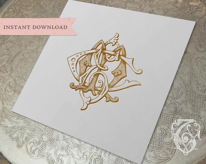 3 Initial Vintage Monogram ECM CEM MEC Three Letter Wedding Monogram Digital Download E C M