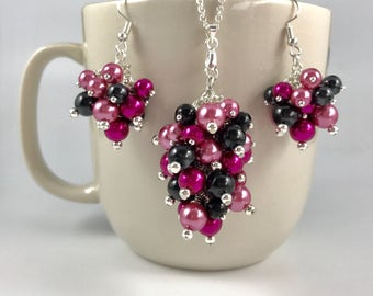 Pearl Cluster Necklace/Earrings/Set - Rose Pink, Hot Pink, and Black - Custom Pearl Colors Option - Choose your own colors