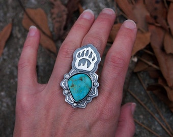 Turquoise Bear Paw Mountain Ring with Chinese Turquoise Sterling Silver Bear Totem Eagle Statement Ring Mountain Inspired Silver Jewelry