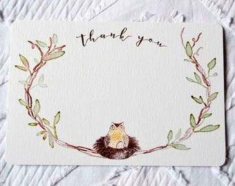 Printable Owl and Egg Thank You Note in Pink