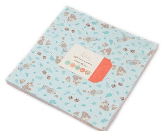 LULLABY Moda Fabric Layer Cake Baby Kate & Birdie precuts woodland fox modern sewing maker quilt 10 inch squares peach aqua