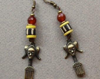 African Brass Comb Earrings Adinkra symbol w Carnelian and Batik Bone Long Dangles on Antiqued Brass Hooks Ethnic Tribal Boho Jewelry