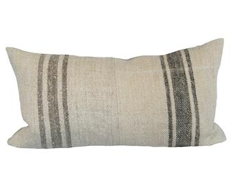 Vintage French Striped Grainsack Lumbar Pillow