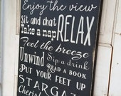 Patio Rules Sign  CUSTOM Patio Extra Large Custom Rustic Rules Sign Primitive Typography  subway sign