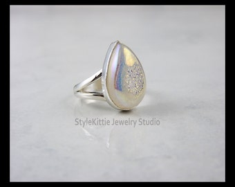 White Rainbow Druzy Agate and 925 Sterling Silver Ring - Size 9 1/4, Pear, Teardrop, Pearlescent, Multi Color Gemstone, Sparkling, Jewelry